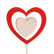 Pick Wooden Heart In Heart Red (9x50cm)