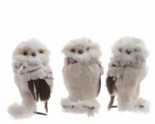 foam owl w plush w hanger 3ass