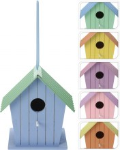 Birdhouse wood with metal roof (6 assorted)