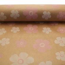 Kraft Paper Nat w Pink & White Fleur (50cmx100m)