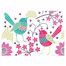 Card Folded Birds and Flowers x25