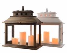 LED wooden lantern (2 assorted)