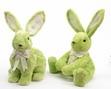 Fake fur bunny with bow (2 assorted/Green)