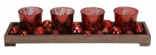 CANDLEHOLDER WOODEN PLATE RED