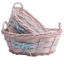 Basket Oval with Blue Rope Unlined Set/2