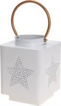 Lantern (14X18.5cm/White/Metal)