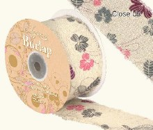 Ribbon Burlap Frayed Edge Contemp Floral(50mmx10m)