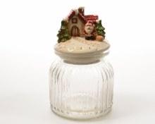 glass coockie jar w cer lid