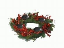 deco candleh wreath berries