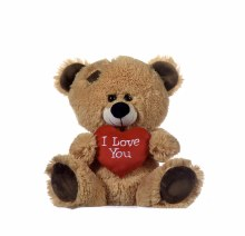 Brown Bear With Red Heart (43cm)