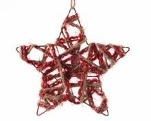 iron star with jute w glitter