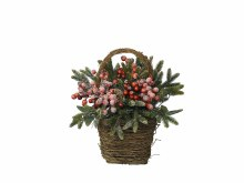 decorated basket berries snow