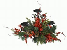 Candleholder with Berries Deco (33cm)