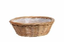 Basket Round Full Willow Natural (35.5cm)