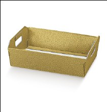 Gold Tray Leather - Cesto I. Pelle Oro (31x22x9cm)