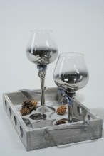 glass tlighth on wooden tray