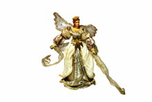 """17"""" Angel Tree Topper Taupe Gold"""