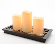 LED s3 candles w wood tray