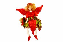 """9"""" Flower Fairy Red Green Gold"""