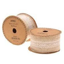 Ribbon Natural with Ivory Lace (50mm)