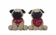 Pug Dog with Heart/Scarf (17cm)