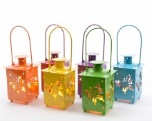 LED metal lantern (6 colours assorted) bo ou