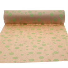 Nature kraft paper with lime multi dots (50cm)
