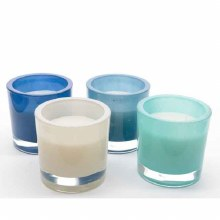 Glass pot with scented wax (4 assorted)