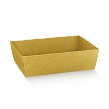Gold Tray - Vassoio C Pelle Oro (40x30x11.5cm)