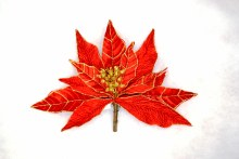 9in Poinsettia Clip Red w Gold