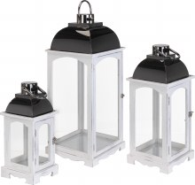 Lantern Wood Set 3Pcs 2Ass