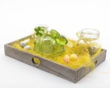 Glass easter decoset in wood tray