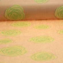 Kraft Paper Nat with Lime Green Roses (50cmx100m)