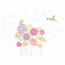 Card Folded Multicolour Alliums & Bird x25