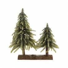 PE mini tree 2pcs on wood 28cm