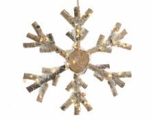 LED birch snowflake w hanger