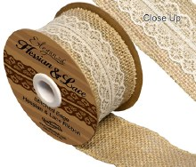 Woven edge hessian & lace (50mm x 5yds/White)