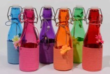 Glass bottle with stop (6 colours assorted)