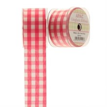 Ribbon Large Check Gingham Dark Pink (38mm)