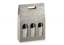 3 Bot. Wine Carrier Dove Gray - Damascato T
