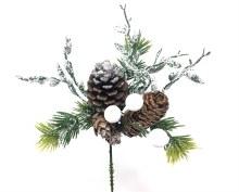 "7"" Xmas Pick White wGlitter Pine"