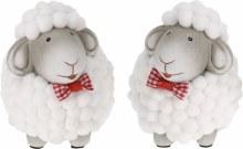 Sheep ceramic with fur (8cm/2 assorted)