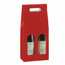 2 Bot. Wine Carrier Leather Red - Pelle Rosso