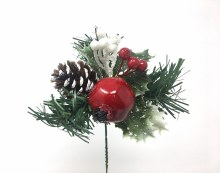 "7"" Xmas Pick Red/White w/ Pom. Berries & Pine"