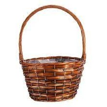 Basket Round Barkby with Handle Brown (28cm)