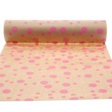 Nature kraft paper with cerise multi dots (50cm)