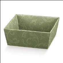 Green Tray -Vassoio C Damascato Verde (26x26x10cm)