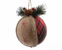 jute Xmas ball w pine w hanger