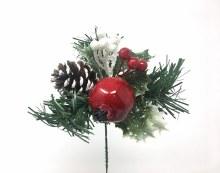 "7"" Xmas Pick Red/White w/ Pom. Berries & Pine"