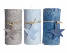 wax pillar candle w star 3clas